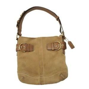 COACH Creed Tan Suede Hobo Purse Bag F05S-1483